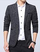 billiga Herrblazers och kostymer-Herr Party Normal Blazer, Enfärgad V-hals Långärmad Polyester Blå / Svart / Grå XL / XXL / XXXL