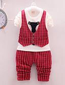 povoljno Kompletići za dječake-Dijete Dječaci Ležerne prilike / Osnovni Dnevno / Sport Crno-bijela Karirani uzorak Dugih rukava Regularna Normalne dužine Pamuk Komplet odjeće Red / Dijete koje je tek prohodalo