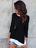 baratos Vestidos Femininos-Mulheres Camiseta - Para Noite Moda de Rua Sólido Preto M