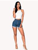 ieftine Pantaloni de Damă-Pentru femei Activ Mărime Plus Size Bumbac Blugi / Pantaloni Scurți Pantaloni - Mată Alb negru, Franjuri Albastru piscină