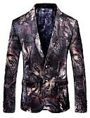 cheap Men's Blazers & Suits-Men's Party / Holiday / Club Vintage Spring &  Fall Regular Blazer, Animal Shirt Collar Long Sleeve Cotton / Polyester Jacquard Black XXXL / 4XL / XXXXXL