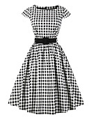 baratos Biquínis e Roupas de Banho Femininas-Mulheres Para Noite Vintage / Moda de Rua Algodão Evasê Vestido Quadriculada Altura dos Joelhos