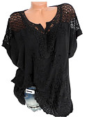 cheap Women's Blouses-Women's Basic Shirt - Solid Colored Lace