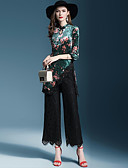 preiswerte Damen zweiteilige Anzüge-Damen Grundlegend Bluse - Solide / Blumen Hose