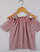 ieftine Seturi Îmbrăcăminte Fete-Copii Fete De Bază Zilnic Dungi Imprimeu Manșon scurt Regular Bumbac Tricou Roșu-aprins 140