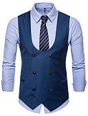 cheap Men's Ties & Bow Ties-Men's Daily / Work Business / Basic Fall / Winter Plus Size Regular Vest, Solid Colored V Neck Sleeveless Cotton / Polyester Black / Camel / Gray XXL / XXXL / 4XL / Business Casual / Slim
