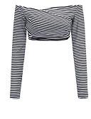 ieftine Tricou-Pentru femei De Pe Umăr Tricou Ieșire Dungi