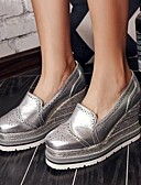 cheap Women's Sweaters-Women's Shoes Nappa Leather Spring & Summer Comfort Loafers & Slip-Ons Wedge Heel Closed Toe Gray / Silver / Red