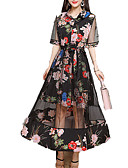 cheap Maxi Dresses-Women's Daily / Going out Maxi Slim Shirt Dress Shirt Collar Summer Black XL XXL XXXL
