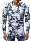 お買い得  メンズシャツ-男性用 プリント プラスサイズ シャツ ベーシック スリム フラワー / カラーブロック コットン ホワイト XL / 長袖