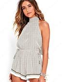 cheap Women's Dresses-women's going out cotton romper - solid colored harem halter neck