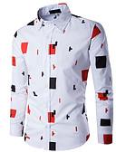baratos Camisas Masculinas-Homens Camisa Social Estampado, Geométrica