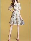 abordables Vestidos de Mujer-Mujer Básico Recto Vestido - Bordado, Geométrico Maxi