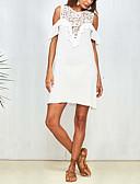 cheap Women's Dresses-Women's Basic Puff Sleeve Shift Dress - Solid Colored / Geometric Blue & White, Tassel