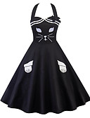 cheap Mother of the Bride Dresses-Women's Daily Vintage Slim A Line Dress - Geometric Print Strap Summer Cotton Black L XL XXL