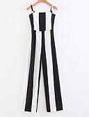 رخيصةأون قمصان نسائية-بذلة نسائي ساق عريضه طباعة - مخطط أساسي نحيل مع حمالة قطن / الصيف