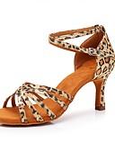 baratos Biquínis e Roupas de Banho Femininas-Mulheres Sapatos de Dança Latina Cetim Salto Leopardo Salto Alto Magro Personalizável Sapatos de Dança Leopardo