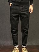 ieftine Pantaloni Bărbați si Pantaloni Scurți-Bărbați Bumbac Larg Blugi Pantaloni - Mată Negru / Sfârșit de săptămână