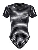 cheap Bodysuit-women's going out bodysuit - striped crew neck