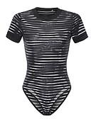 cheap Women's T-shirts-women's going out bodysuit - striped crew neck