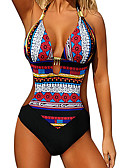 cheap One-piece swimsuits-Women's One Piece Swimsuit Bodysuit Breathable Quick Dry Swimming Beach Watersports Reactive Print Spring &  Fall Summer