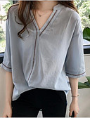 זול חולצה-אחיד צווארון V משוחרר פעיל מידות גדולות חולצה - בגדי ריקוד נשים שרוול עטלף