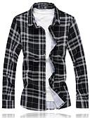 זול חולצות לגברים-משובץ מידות גדולות כותנה, חולצה - בגדי ריקוד גברים / שרוול ארוך