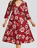 baratos Vestidos Femininos-Mulheres Tamanhos Grandes Delgado Evasê Vestido Decote V Altura dos Joelhos