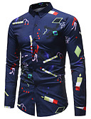 abordables Camisas de Hombre-Hombre Negocios / Básico Estampado Camisa Bloques