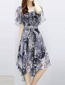 abordables Vestidos de Mujer-Mujer Vintage / Sofisticado Recto / Corte Swing Vestido A Cuadros Midi Blanco y Negro