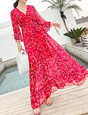 ieftine Rochii Maxi-Pentru femei De Bază Zvelt Pantaloni - Floral Imprimeu Talie Înaltă Roșu-aprins / Maxi / V Adânc / Plajă