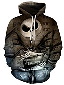 voordelige Herenhoodies & Sweatshirts-Heren Actief / overdreven Grote maten Ruimvallend Broek - 3D / Cartoon Print Bruin / Capuchon / Lange mouw / Herfst / Winter