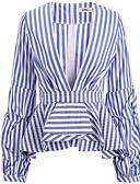 cheap Women's Fur & Faux Fur Coats-Women's Going out Shirt - Solid Colored / Striped Deep V