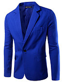 cheap Men's Blazers & Suits-Men's Daily / Work Regular Blazer, Solid Colored Shirt Collar Long Sleeve Polyester Army Green / Khaki / Royal Blue XL / XXL / XXXL