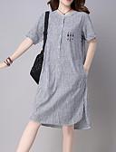 ieftine Rochii de Damă-Pentru femei Vintage Mâneci Bufante Shift Rochie - Franjuri, Mată Lungime Genunchi Albastru & Alb