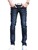 tanie Męskie koszulki polo-Męskie Podstawowy / Moda miejska Bawełna Szczupła Jeansy Spodnie - Solidne kolory Niebieski