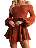 cheap Women's Coats & Trench Coats-Women's Daily / Going out Flare Sleeve Mini Slim Sheath Dress - Solid Colored Boat Neck Fall Orange Red Gray M L XL / Sexy