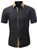 cheap Men's Shirts-Men's Basic Shirt - Color Block Blue XXL / Short Sleeve