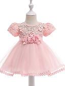 halpa Vauvojen mekot-Vauva Tyttöjen Vintage Bile / Syntymäpäivä Yhtenäinen Lyhythihainen Polvipituinen Puuvilla Mekko Apila