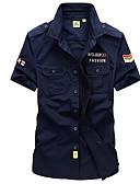 cheap Men's Shirts-Men's Linen Shirt - Solid Colored / Short Sleeve