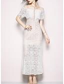 זול תחרה רומטנית-בגדי ריקוד נשים אלגנטית רזה מכנסיים תחרה לבן / Party / סירה רחב / ליציאה