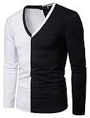 ieftine Maieu & Tricouri Bărbați-Bărbați Tricou De Bază - Bloc Culoare Peteci Alb negru