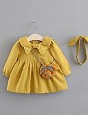Χαμηλού Κόστους Φορέματα για κορίτσια-Μωρό Κοριτσίστικα Βασικό Μονόχρωμο Μακρυμάνικο Βαμβάκι Φόρεμα Ανθισμένο Ροζ / Νήπιο