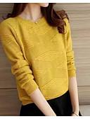 baratos Suéteres de Mulher-Mulheres Manga Longa Algodão Delgado Pulôver - Sólido Algodão
