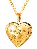 hesapli Spor Saat-Kadın's Uzun Zodyak Oymalı Uçlu Kolyeler Madalyon Kalp Bayan Romantik Moda Heart Altın Gümüş 55 cm Kolyeler Mücevher 1pc Uyumluluk Hediye Günlük