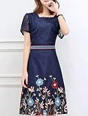 abordables Vestidos de Talla Grande-Mujer Elegante Manga Tulipán Vaina Vestido - Encaje, Floral / Tribal Midi Margarita