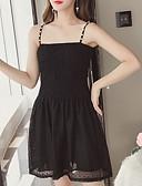 hesapli Kadın Elbiseleri-Kadın's Dışarı Çıkma Zarif İnce Little Black Elbise - Solid, Dantel Askılı Diz üstü