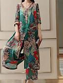 ieftine Costum Damă Două Bucăți-Pentru femei Mărime Plus Size Mâneci Bufante Bumbac De Bază Set - Mată, Pantaloni Plisată / Floral / Picior Larg / Lung