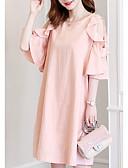 رخيصةأون فساتين مطبوعة-فستان نسائي كلاسيكي عصري ميدي لون سادة كم ورقة البتلات