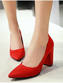cheap Romantic Lace Dresses-Women's Suede Spring Comfort Heels Chunky Heel Black / Gray / Red / Daily